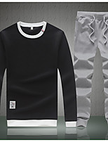 cheap -Men's Daily Street chic Set Solid Round Neck Micro-elastic Polyester Long Sleeves Autumn/Fall