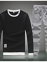 preiswerte -Herren Set Lässig/Alltäglich Street Schick Solide Rundhalsausschnitt Mikro-elastisch Polyester Langarm Herbst