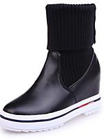 Недорогие -Для женщин Обувь Полиуретан Весна Армейские ботинки Ботинки Круглый носок Сапоги до середины икры Назначение Повседневные Черный Бежевый