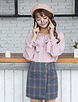 cheap -Women's Daily Cute Street chic Blouse,Solid Shirt Collar Long Sleeves Polyester