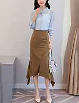 Women's Work Sexy Blouse Skirt Suits,Solid Long Sleeves Ruffle Split Polyester Spandex