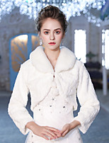 3/4 Length Sleeves Faux Fur Wedding Party / Evening Women's Wrap With Pattern / Print Lace-up Pom-pom Shrugs