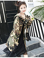 Women's Going out Simple Casual Fall Trench Coat,Solid Round Neck ¾ Sleeve Regular Cotton Acrylic Tassel