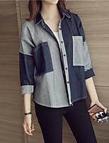 cheap -Women's Daily Street chic Shirt,Color Block Shirt Collar Long Sleeves Cotton