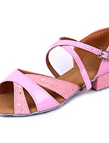 Women's Latin Paillette Faux Leather Sandal Indoor Paillette Customized Heel Pink 1