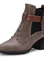 cheap -Women's Shoes PU Fall Winter Comfort Boots Chunky Heel Pointed Toe Rivet Buckle For Outdoor Office & Career Dark Brown Black