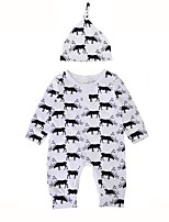 Baby Boys' Print Animal Print One-Pieces,Cotton Winter Spring/Fall Stylish One Piece Casual Long Sleeves White