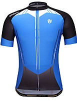 Cycling Jersey Men's Short Sleeves Bike Jersey Quick Dry Stretchy Breathability Polyester Geometric Spring Summer Blue