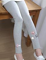 cheap -Girls' Solid Jacquard Cartoon Pants,Cotton Spring Fall Cute Casual Active Cartoon Blushing Pink Navy Blue Gray