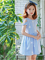 Girl's Birthday Daily sky Stripes/Ripples Dress,Cotton Spring Summer Short Sleeves Cute Active Light Blue