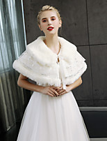 Sleeveless Faux Fur Wedding Party / Evening Women's Wrap With Laces Capelets