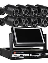 economico -Sistema di telecamere di sicurezza a 8 canali Telecamere a prova di intemperie da 8 pollici con tecnologia da 8 pollici e 1080p a
