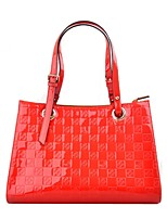 Women Bags PU Patent Leather Tote Pattern / Print Zipper for Casual Office & Career All Season Red Fuchsia