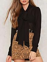 abordables -Mujer Vintage Bonito Sensual Noche Casual/Diario Primavera Verano Camisa,Cuello Camisero Un Color Manga Larga Poliéster Semiopaco
