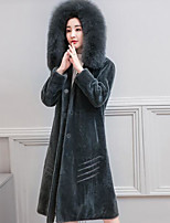 cheap -Women's Daily Simple Casual Fall Fur Coat,Print Cape Long Sleeves Regular Cotton