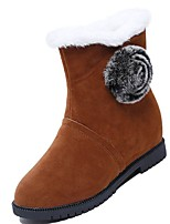 cheap -Women's Shoes Nubuck leather Winter Snow Boots Boots Low Heel Round Toe Mid-Calf Boots Applique For Casual Brown Gray Black