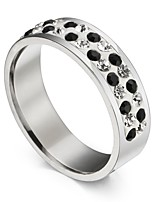 Men's Women's Statement Rings Cubic Zirconia Hiphop Gift Stainless Steel Circle Jewelry For Ceremony Carnival