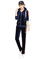 Women's Daily Casual Winter Fall Hoodie Pant Suits,Solid High Neck Long Sleeve Rayon