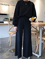 Women's Daily Going out Street chic Fall T-Shirt Pant Suits,Solid Round Neck Long Sleeves Cotton
