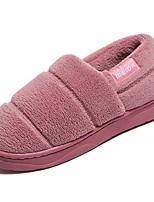 Недорогие -Для женщин Обувь Полиуретан Зима Осень Светодиодные подошвы Тапочки и Шлепанцы Плоские Круглый носок для Повседневные Бежевый Коричневый
