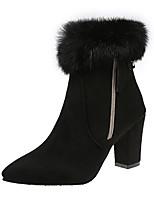 preiswerte -Damen Schuhe PU Frühling Herbst Komfort Stiefel Für Schwarz Khaki