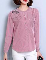 Недорогие -Для женщин На каждый день Рубашка Воротник-стойка,Очаровательный Полоски Длинный рукав,Нейлон