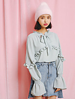 Women's Casual/Daily Cute Blouse,Solid V Neck Long Sleeves Polyester