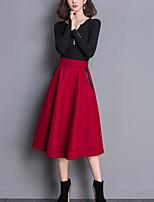 Set Jupe Costumes Femme,Couleur Pleine Décontracté / Quotidien simple Hiver Manches Longues Col Arrondi Coton