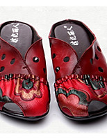 Women's Shoes Real Leather Summer Comfort Slippers & Flip-Flops Round Toe For Casual Red Black