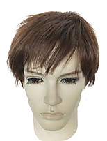 Men Synthetic Wig Capless Short Kinky Straight Brown Natural Wigs Costume Wig