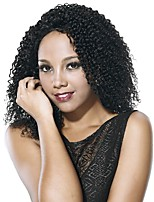 Women Synthetic Wig Lace Front Medium Length Afro Jerry Curl Black African American Wig Celebrity Wig Natural Wigs Costume Wig