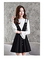 Women's Daily Going out Casual Fall Sweater Dress Suits,Solid Crew Neck Long Sleeves Others