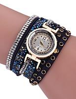 Women's Casual Watch Bracelet Watch Simulated Diamond Watch Chinese Quartz Imitation Diamond PU Band Vintage Casual Bohemian Black White