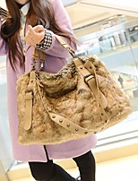 Women Bags Fur Tote Zipper for Sports & Outdoor Casual Winter Fall Brown