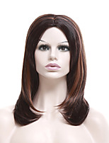 Women Synthetic Wig Capless Short Straight Brown Highlighted/Balayage Hair Natural Wigs Costume Wig
