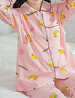 Costumes Pyjamas Femme,Fruit Coton Polyester Rose Claire