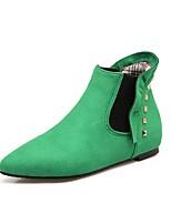 Недорогие -Жен. Обувь Нубук Весна Осень С ремешком на лодыжке Ботинки Плоские Заклепки для Повседневные Черный Серый Зеленый