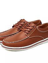 Для мужчин обувь Кожа Весна Осень Удобная обувь Туфли на шнуровке Назначение Повседневные Черный Коричневый Синий