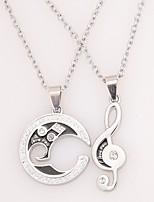 мужские женские подвесные ожерелья музыкальные ноты ювелирные изделия из сплава rhinestone для ювелирных изделий для вечеринок