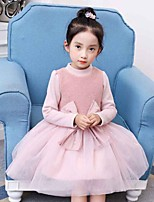 Girl's Holiday Color Block Dress,Cotton Rayon Winter Fall Long Sleeves Active Princess Red Blushing Pink
