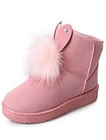 preiswerte -Damen Schuhe Nubukleder PU Winter Herbst Komfort Schneestiefel Stiefel Flacher Absatz Runde Zehe Für Normal Schwarz Grau Rosa