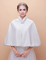 cheap -Sleeveless Faux Fur Wedding Party / Evening Women's Wrap With Crystal Floral Pin Capelets