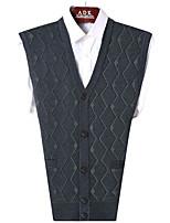Men's Casual/Daily Simple Regular Vest,Print V Neck Sleeveless Polyester Fall Medium Micro-elastic