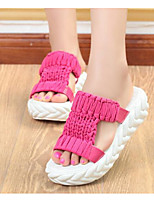 Women's Shoes Fabric Spring Fall Comfort Slippers & Flip-Flops For Casual Fuchsia Gray Black White