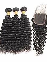 cheap -Remy Brazilian Natural Color Hair Weaves Trendy Deep Wave Hair Extensions 4pcs Black