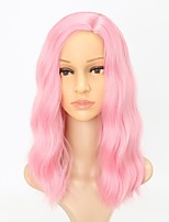 cheap -Women Synthetic Wig Capless Medium Length Curly Deep Wave Pink Natural Hairline Lolita Wig Party Wig Cosplay Wig Natural Wigs Costume Wig