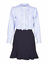 Women's Daily Casual Fall Shirt Skirt Suits,Solid Round Neck Long Sleeves Nylon
