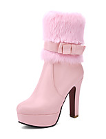cheap -Women's Shoes Leatherette Winter Fashion Boots Boots Round Toe Mid-Calf Boots Bowknot For Party & Evening Dress Pink Black White