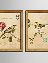 Floral/Botanical Animal Vintage Framed Canvas Framed Set Wall Art,PVC Material With Frame For Home Decoration Frame Art Living Room