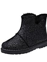 preiswerte -Damen Schuhe PU Winter Komfort Stiefel Runde Zehe Für Normal Schwarz Silber Rosa